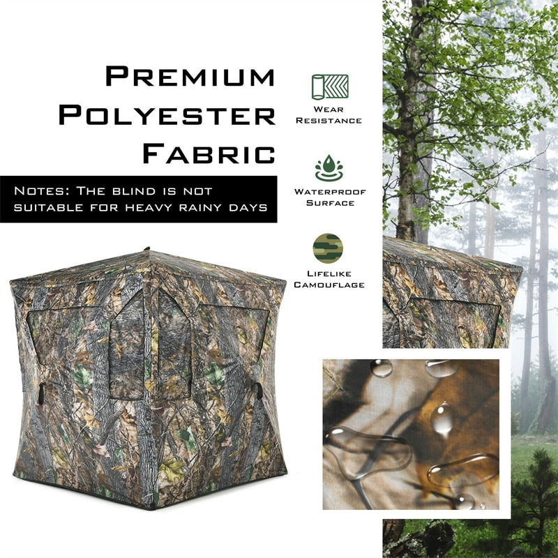 3 Person Portable Pop-Up Hunting Blind Tent w/Mesh Windows and Carrying Bag