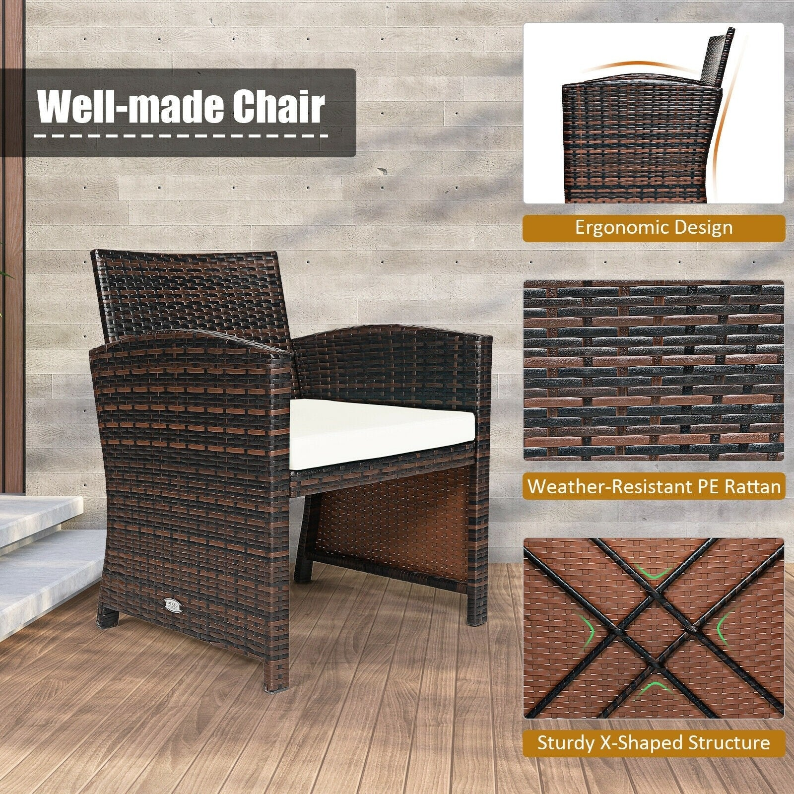 3 Pieces Outdoor PE Rattan Furniture Set with Cushion Chair and Coffee Table