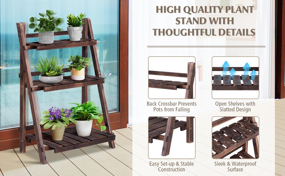 3 Tier Rustic Wooden Folding Plant Stand Flower Rack