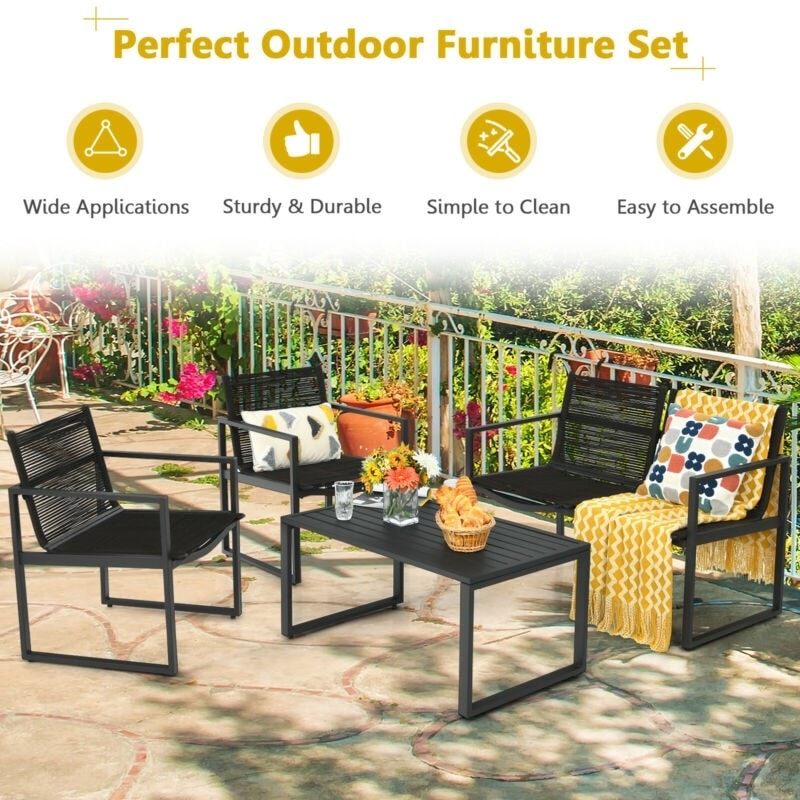 4-Piece Patio Furniture Conversation Set with Loveseat and Coffee Table