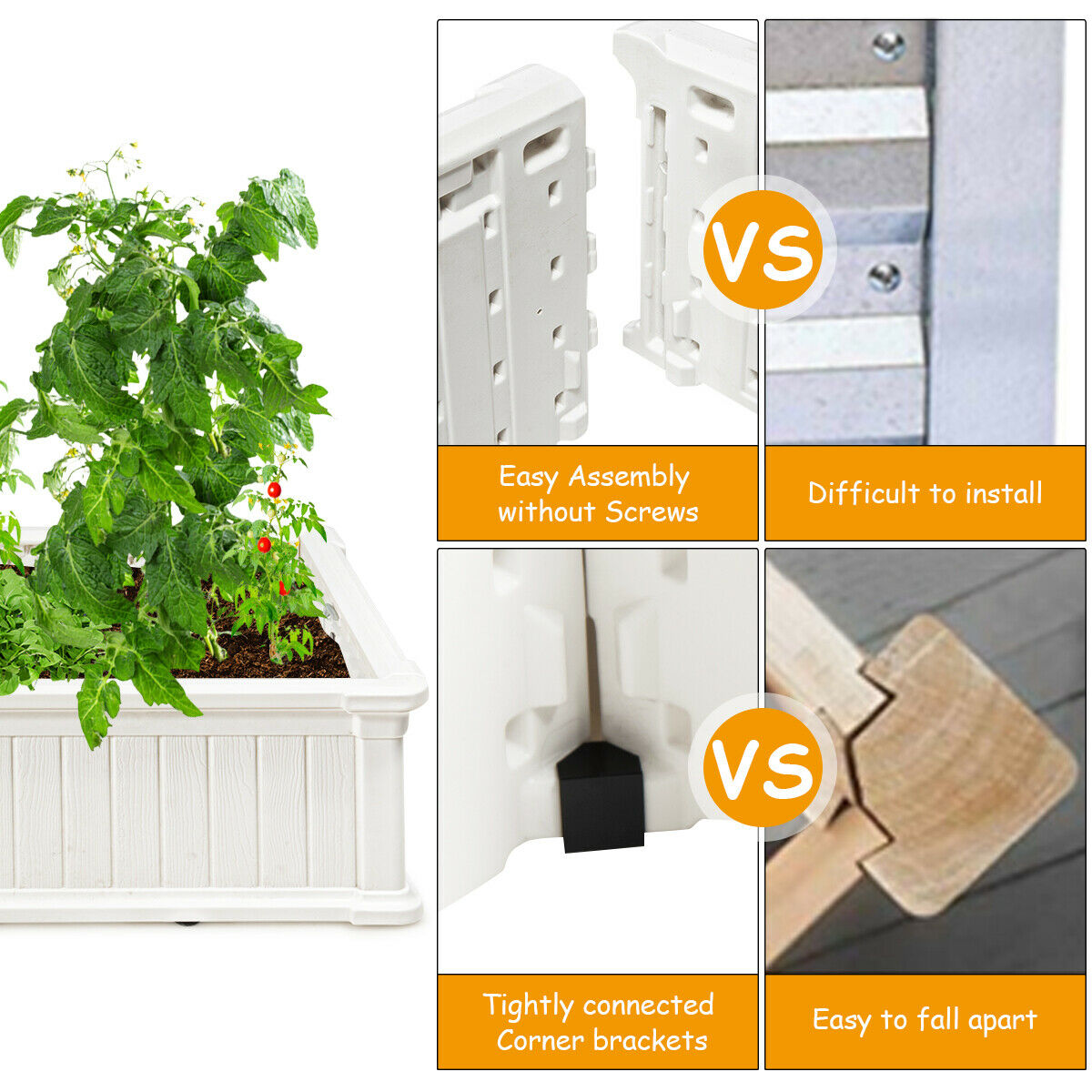 """48"""" L x 24"""" W Raised Garden Bed Outdoor Rectangle Plant Box"""