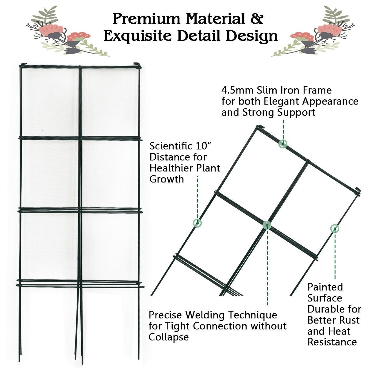 4 Pack Garden Trellis Plant Cage Support for Climbing Plants