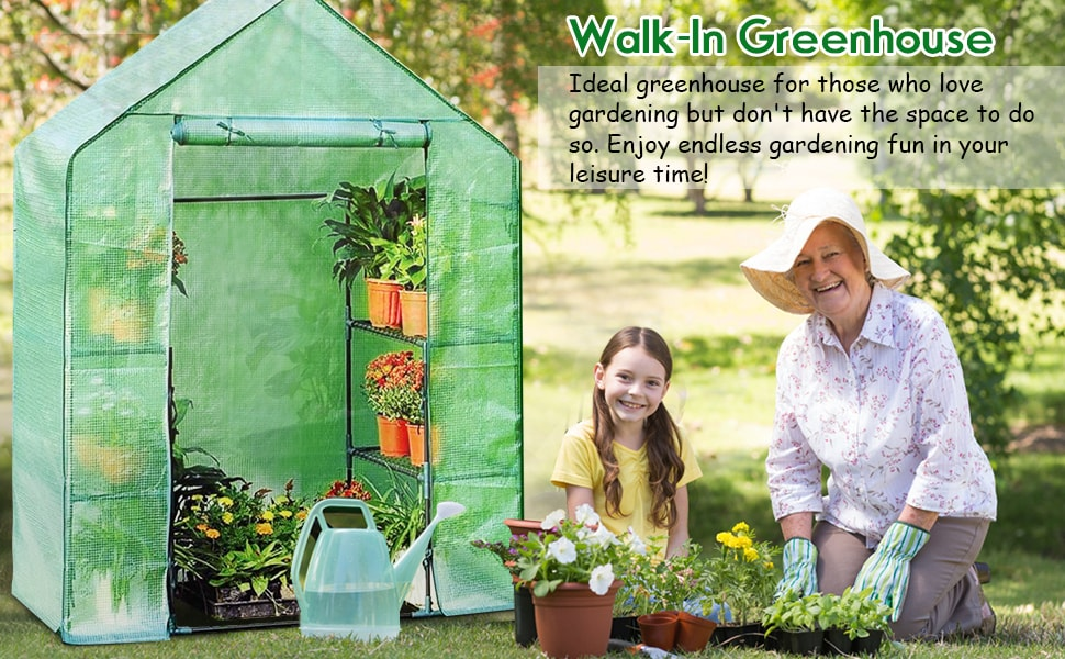 4 Tier 8 Shelves Mini Portable Walk-in Plant Greenhouse for Outdoors and Indoors