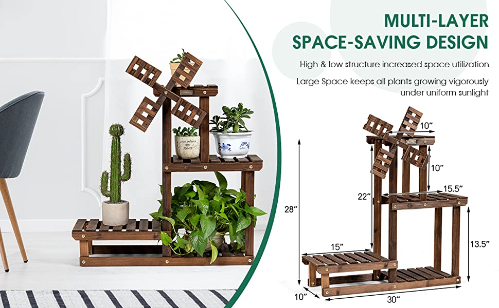 4 Tier Wood Plant Stand Flower Pot Holder with Windmill