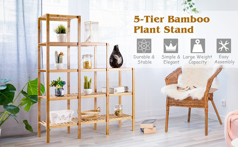5-Tier Multifunctional Bamboo Plant Display Stand Organizer