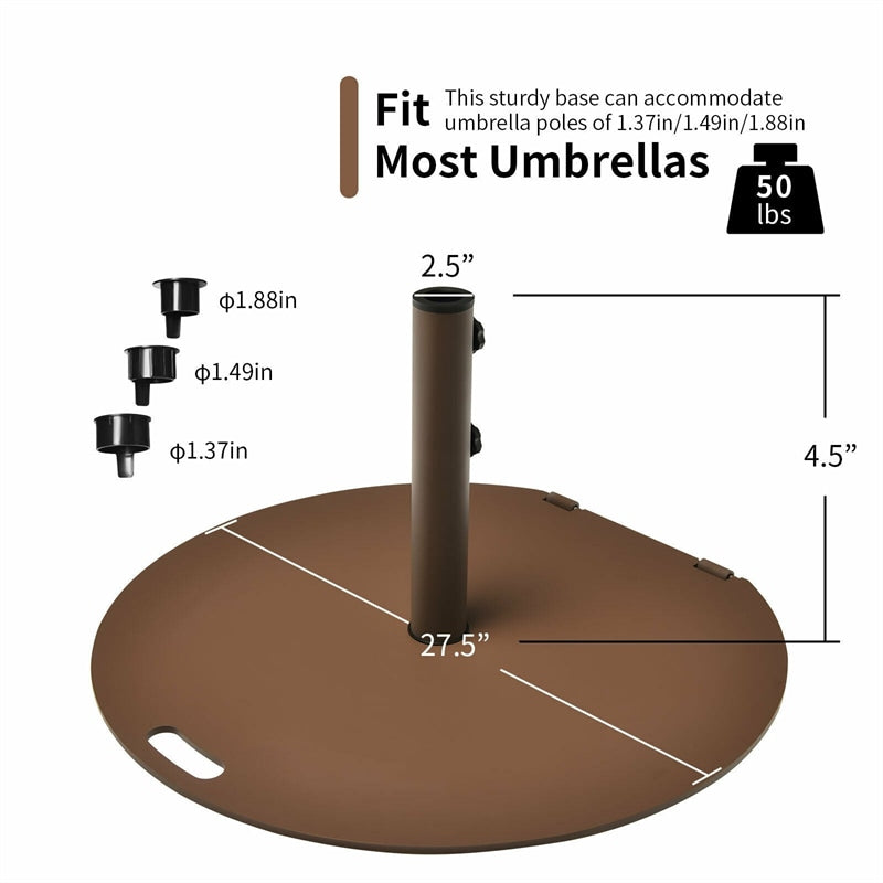 50 lbs Steel Patio Umbrella Base Stand with Wheels