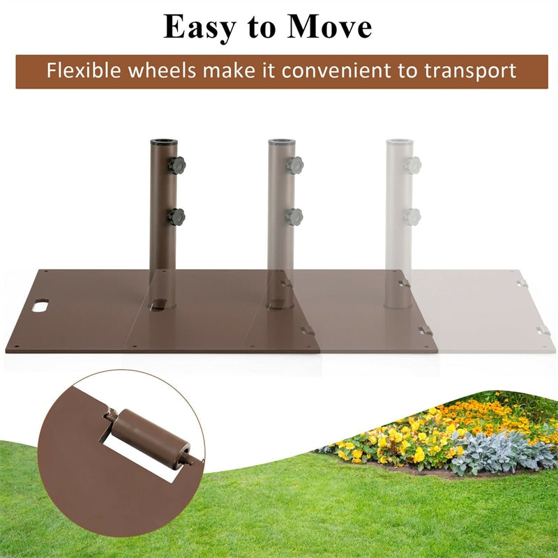 53 lbs Square Patio Umbrella Base Stand with 2 Wheels