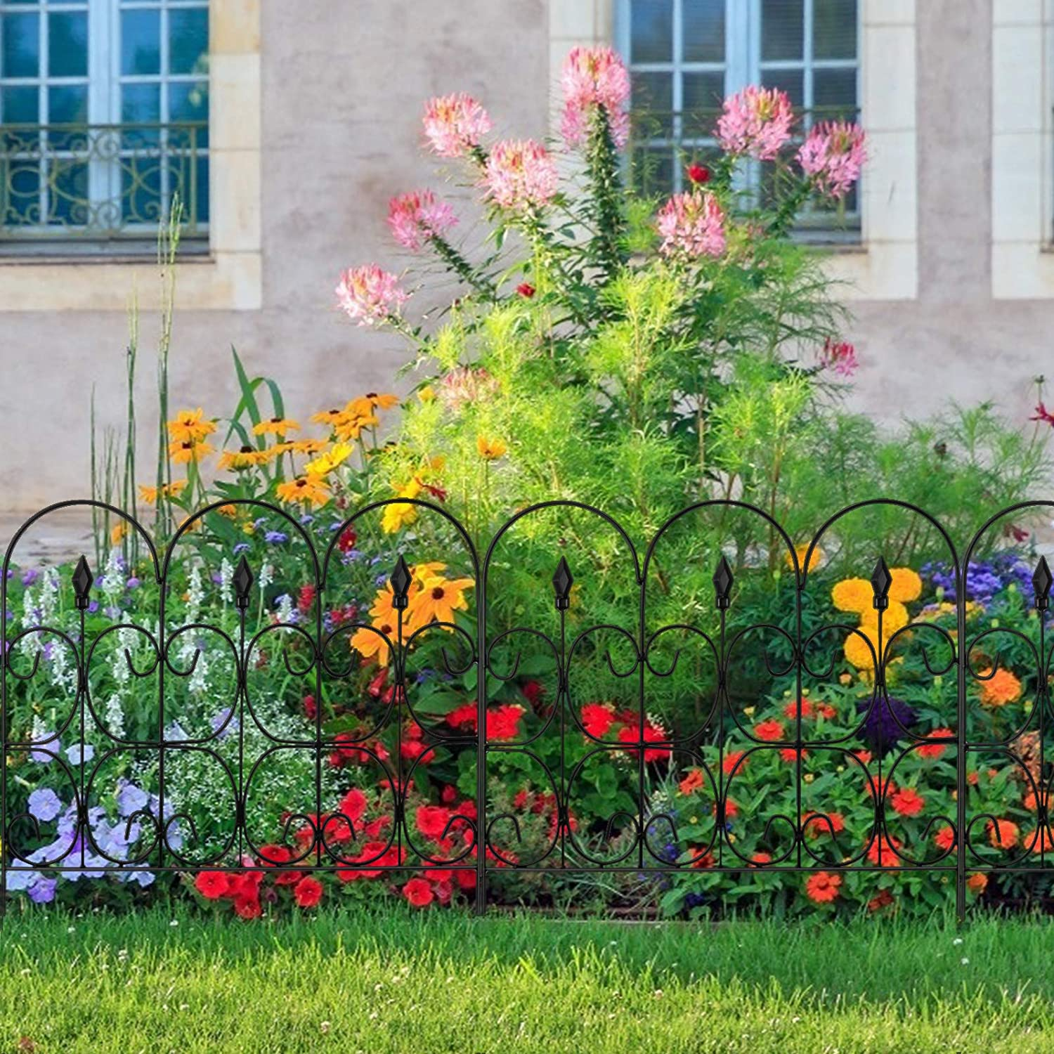 5 PCS 32in x 10ft Folding Decorative Garden Fence with Coated Metal Panels