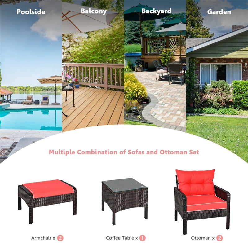 5 Pcs Patio Rattan Furniture Set with Cushioned Sofas and Ottoman