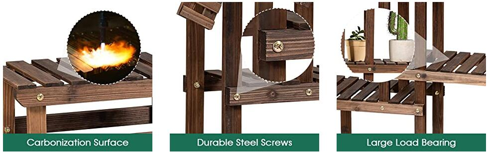 5 Tier Wood Plant Stand Flower Pot Holder with Windmill