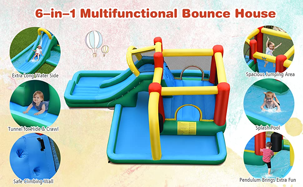 6-in-1 Inflatable Water Slide Jumping Bounce House Plash Pool Without Blower