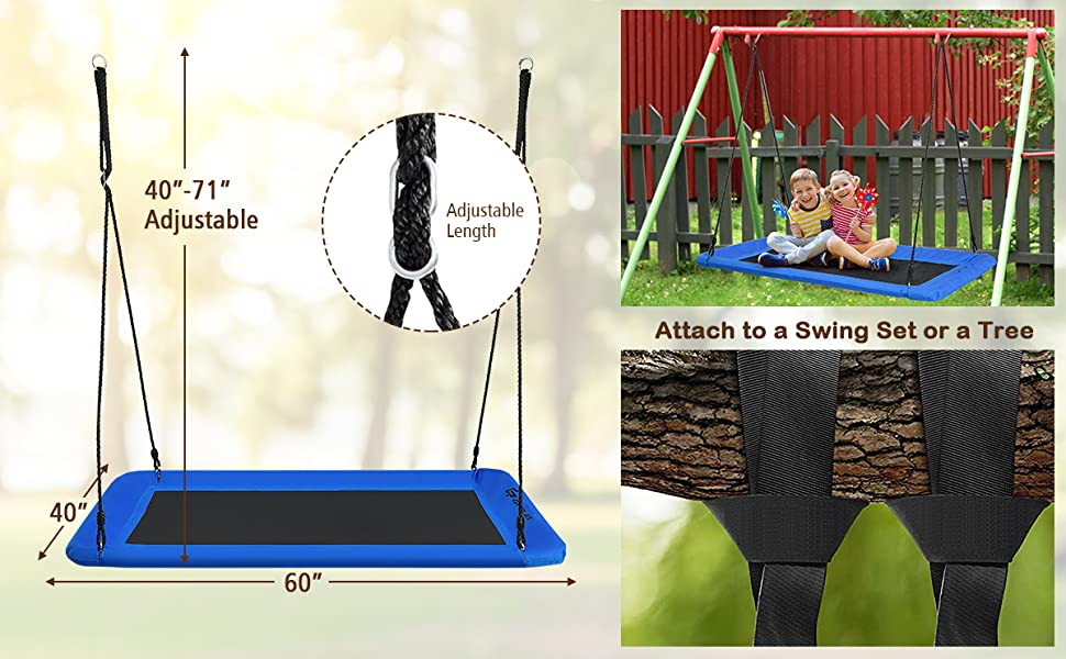 """60"""" Platform Saucer Tree Swing Surf with Hanging Straps for Kids and Adults"""