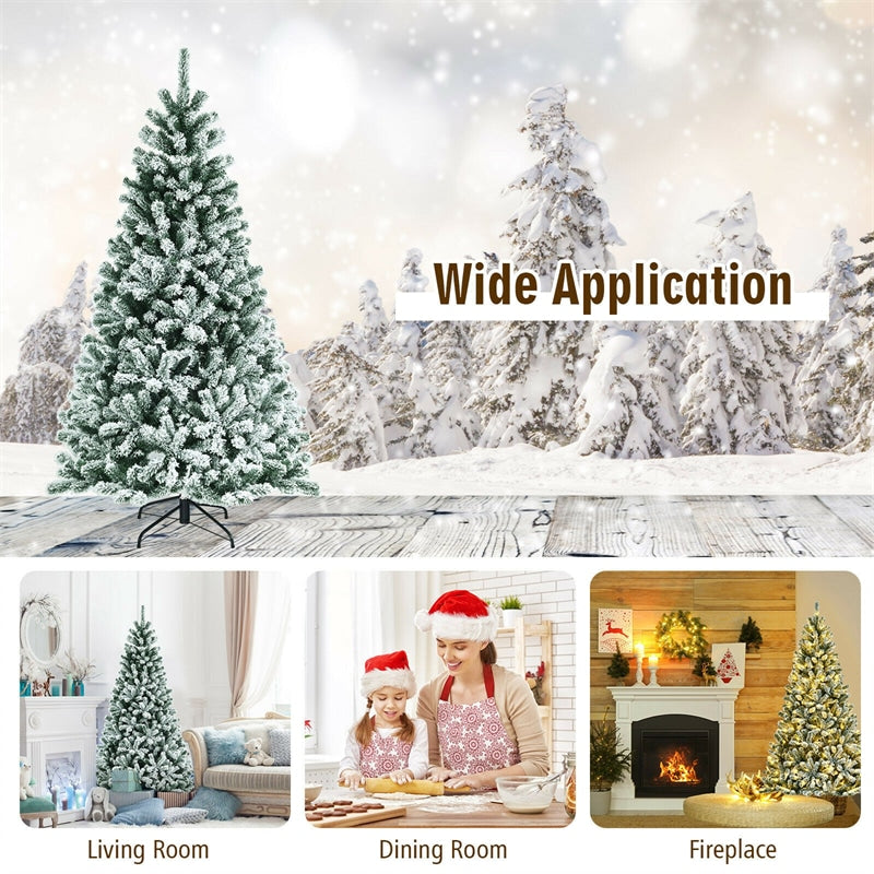 6FT Pre-Lit Snow-Flocked Hinged Christmas Tree with 928 Branch Tips