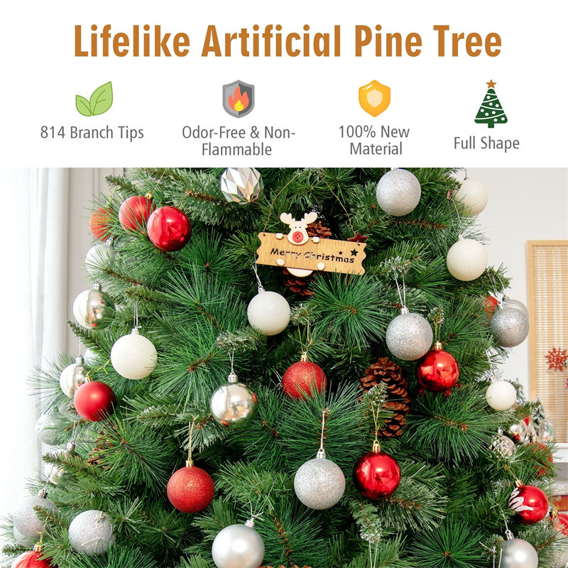6FT Unlit PVC Artificial Christmas Tree Hinged Pine Tree with Metal Stand