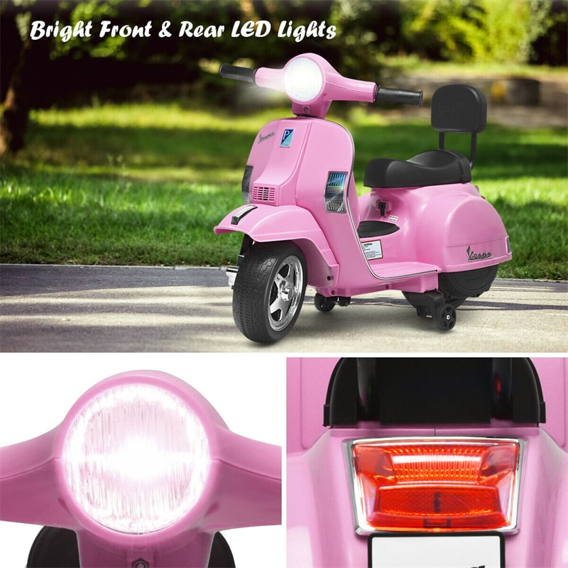 6V Battery Powered Kids Ride On Vespa Scooter Motorcycle for Toddler