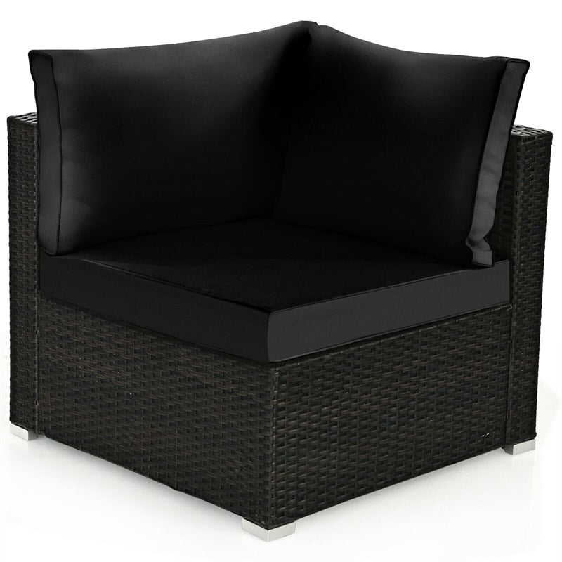 6 Pcs Patio Rattan Furniture Set with Cushioned Sofa and Coffee Table