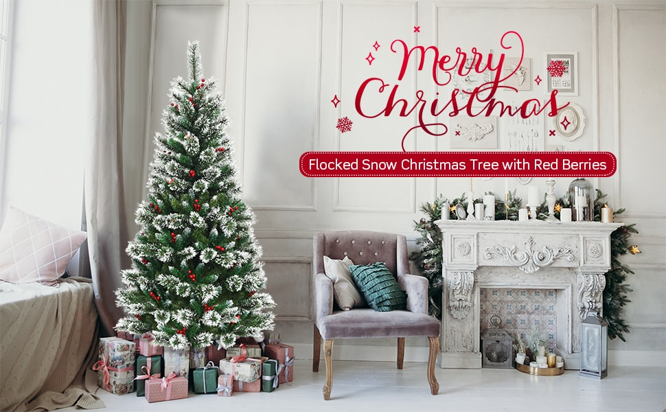 8ft Snow Flocked Pencil Artificial Christmas Tree with Red Berries