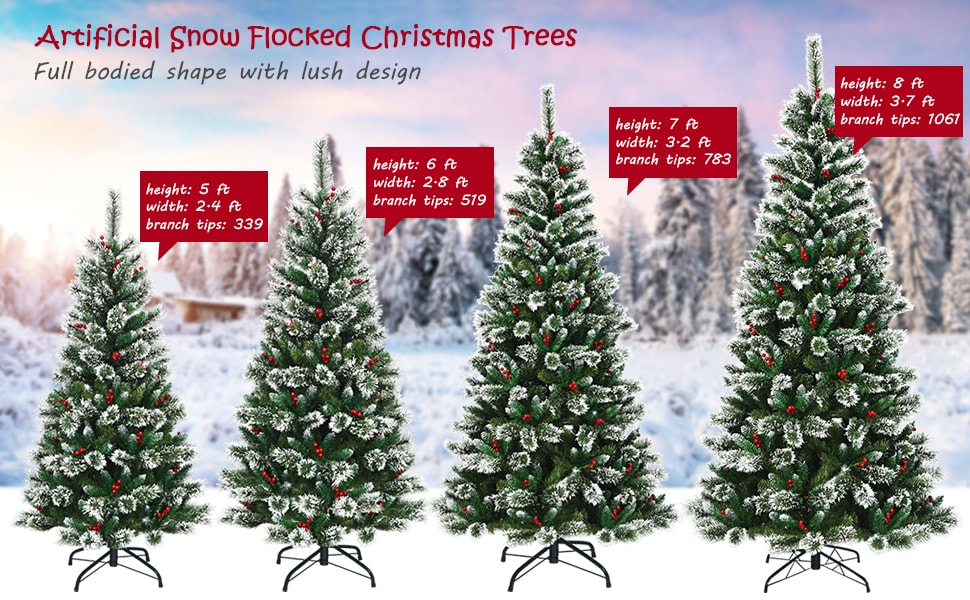 6ft Snow Flocked Pencil Artificial Christmas Tree with Red Berries