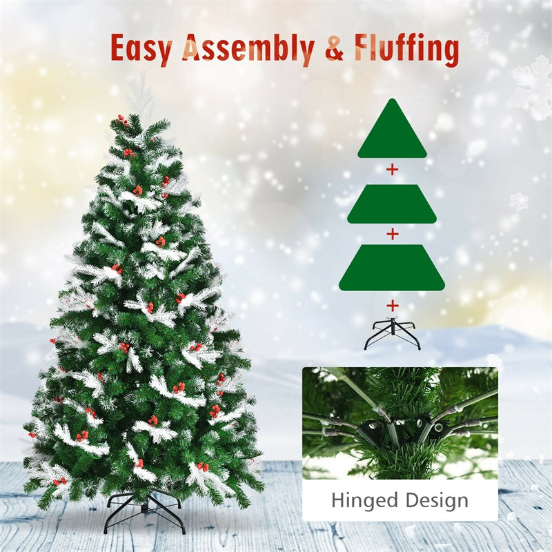 6ft Unlit Snow Flocked Hinged Christmas Tree with Folding Metal Stand