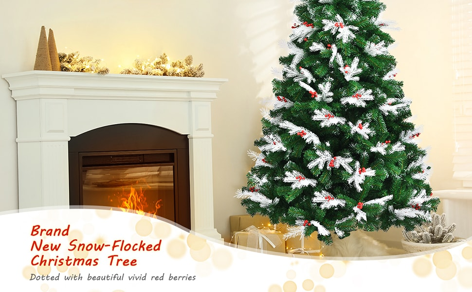 7ft Unlit Snow Flocked Hinged Christmas Tree with Folding Metal Stand