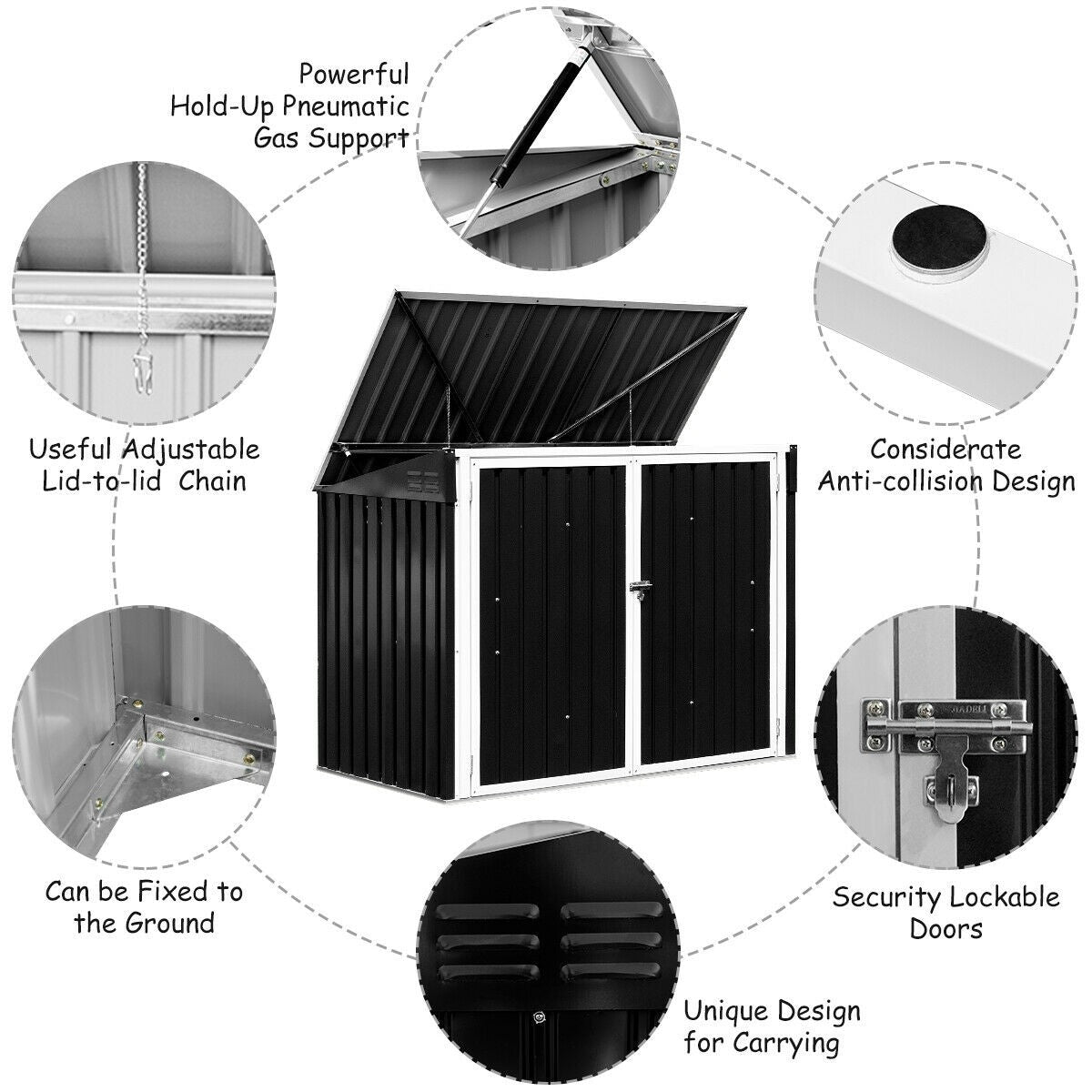 6x3FT Outdoor Horizontal Storage Shed for Garbage Cans