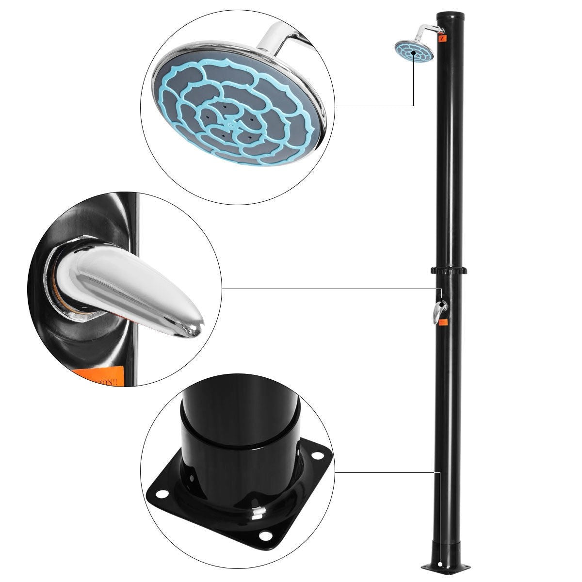 7.2Ft 5.5 Gallon Solar Heated Outdoor Shower with Shower Head