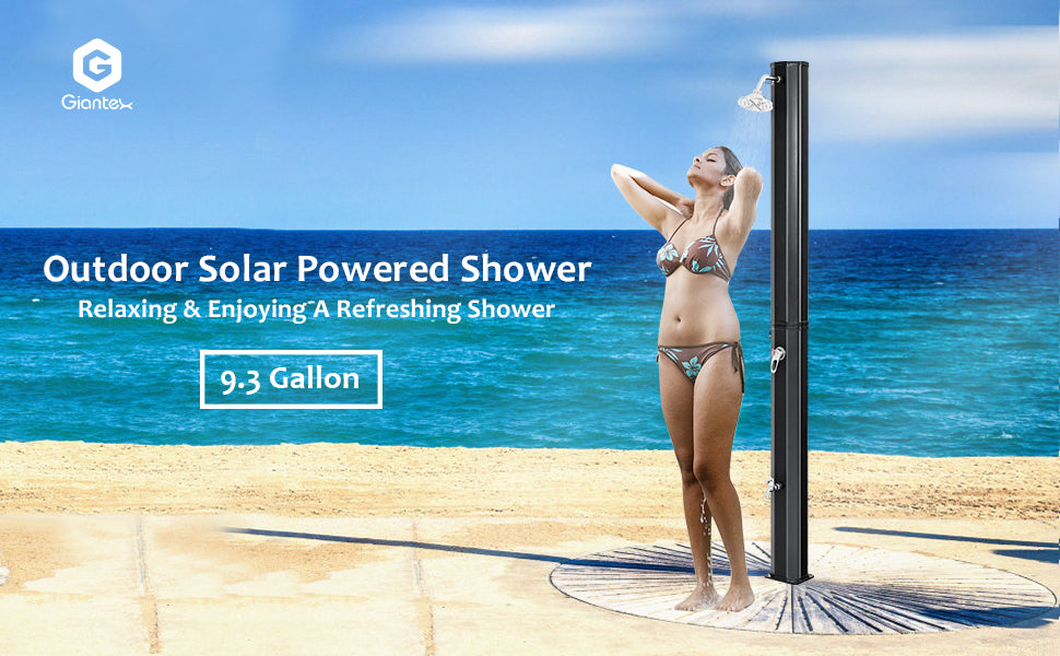7.2Ft 9.3 Gallon Solar Heated Outdoor Shower with Shower Head