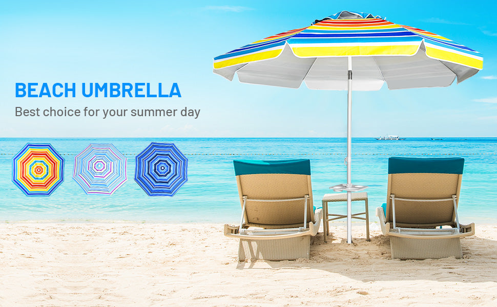 7.2 FT Portable Outdoor Beach Umbrella with Sand Anchor and Tilted Pole