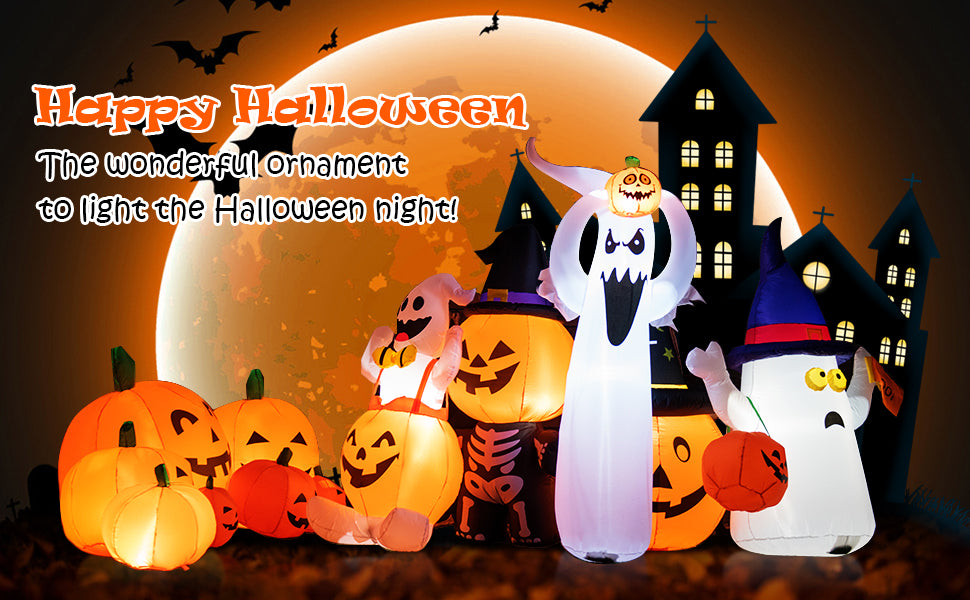7.5 Ft Halloween Inflatable 7 Pumpkins Patch with Built-in LED Lights