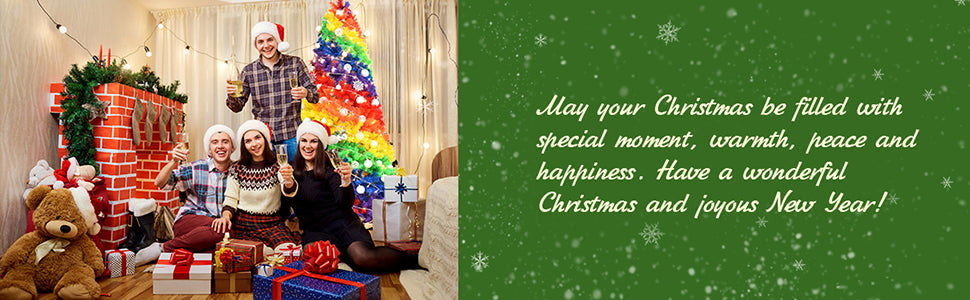 7FT Colorful Rainbow Full Fir Hinged Christmas Tree with Metal Stand