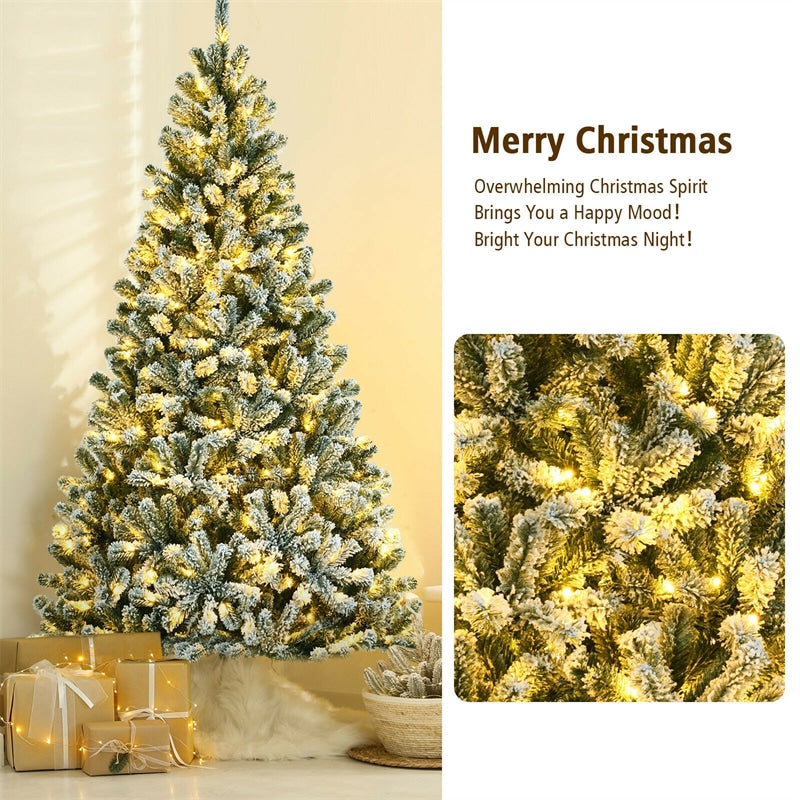 7FT Pre-Lit Snow-Flocked Hinged Christmas Tree with 1116 Branch Tips
