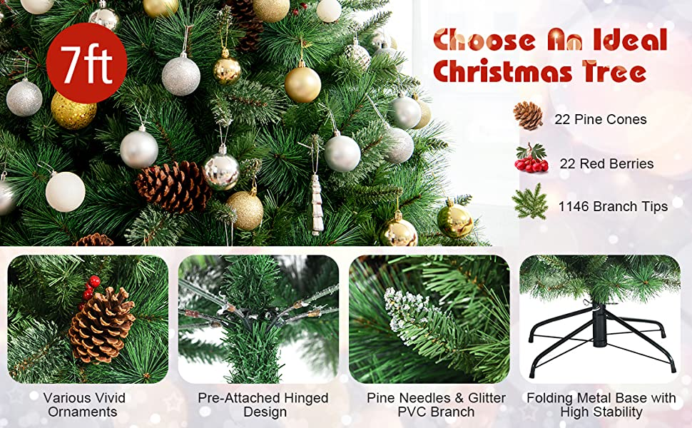 7FT Unlit PVC Artificial Christmas Tree Hinged Pine Tree with Metal Stand