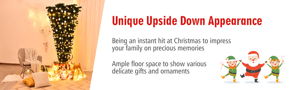 7FT Upside Down Artificial Christmas Tree for Holiday Decorations