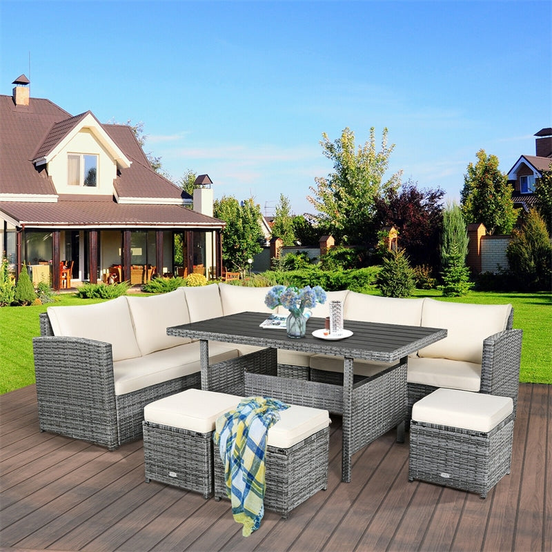 7 PCS Rattan Patio Dining Furniture Sectional Sofa Set with Wicker Ottomans