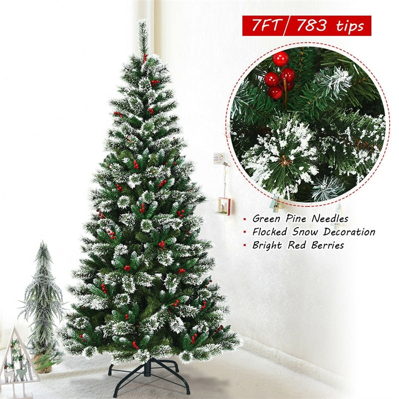 7ft Snow Flocked Higned Artificial Pencil Christmas Tree with Red Berries