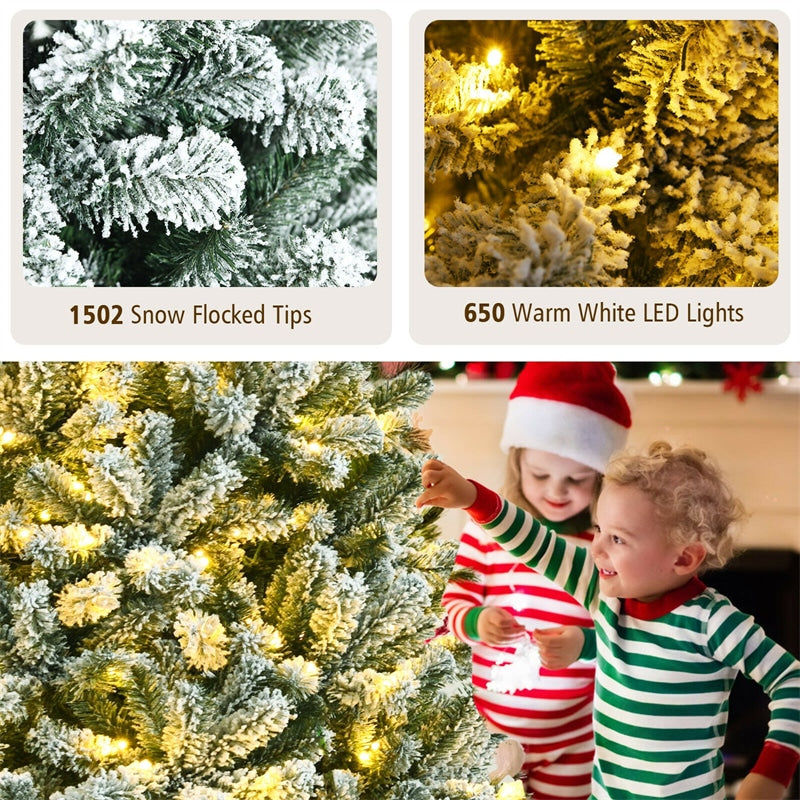 8FT Pre-Lit Snow-Flocked Hinged Christmas Tree with 1502 Branch Tips