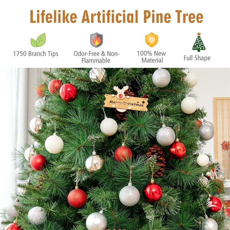 8FT Unlit PVC Artificial Christmas Tree Hinged Pine Tree with Metal Stand