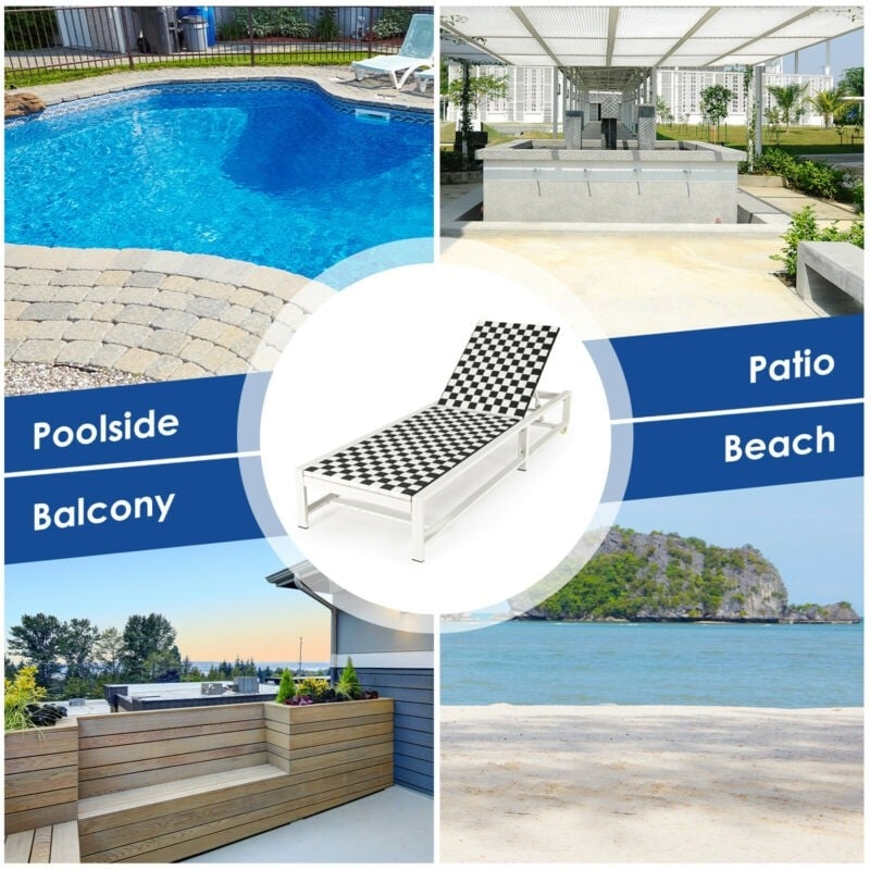 Adjustable Reclining Outdoor Chaise Lounge Chair for Garden Poolside