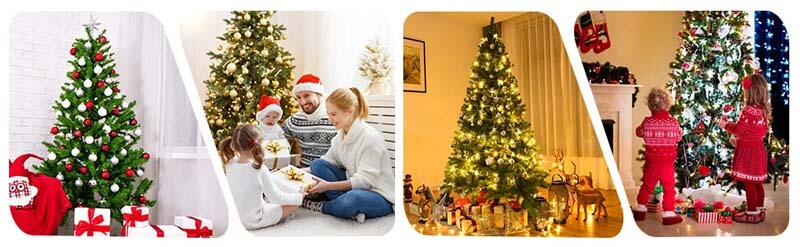 9FT Premium Artificial Hinged PVC Christmas Tree with Metal Stand