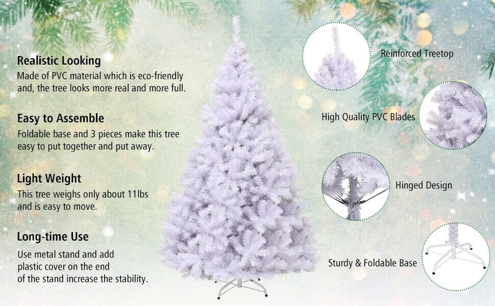 6FT Hinged Artificial Christmas Tree with Metal Stand
