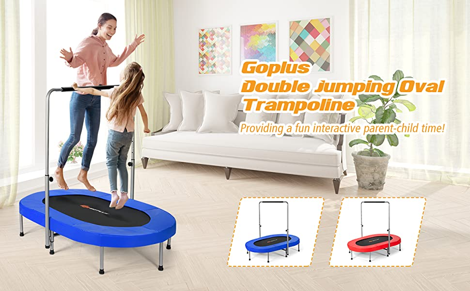 Foldable Double Mini Kids Fitness Rebounder Trampoline with Adjustable Central Handrail