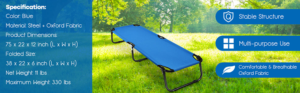 Folding Camping Bed Outdoor Portable Military Cot for Sleeping Hiking Travel