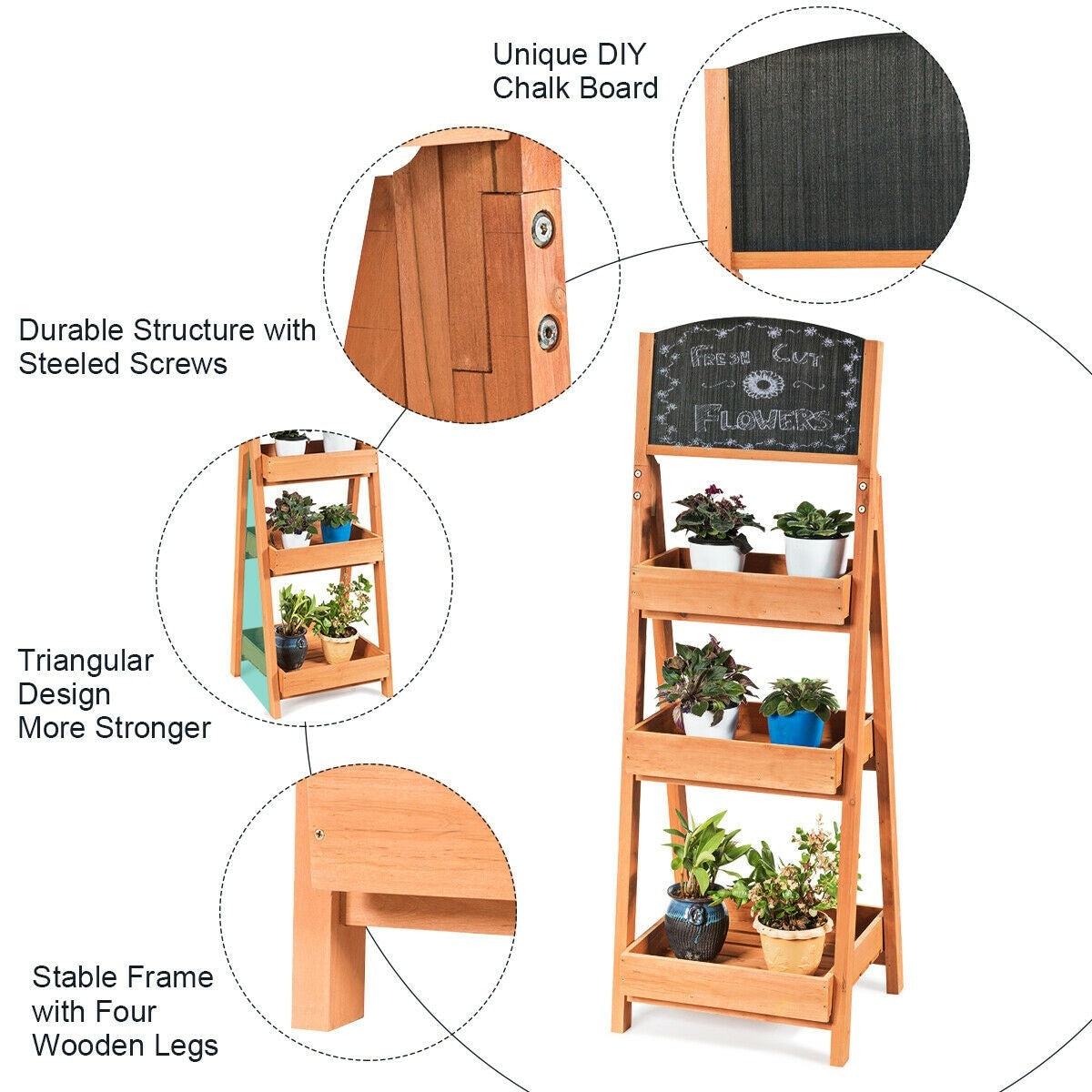 Freestanding Wooden Chalkboard Sign Plant Stand with 3-Tier Display Shelf