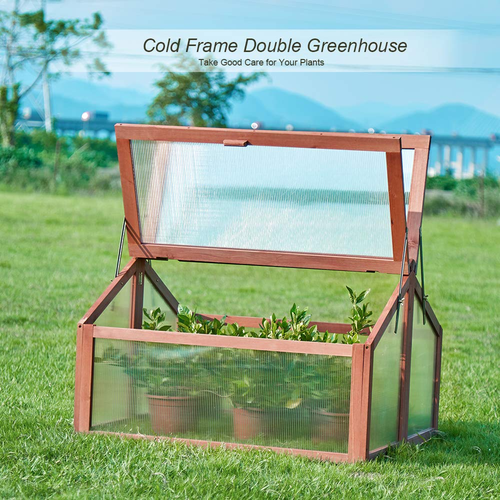 Garden Portable Wooden Cold Frame Greenhouse with Double Box