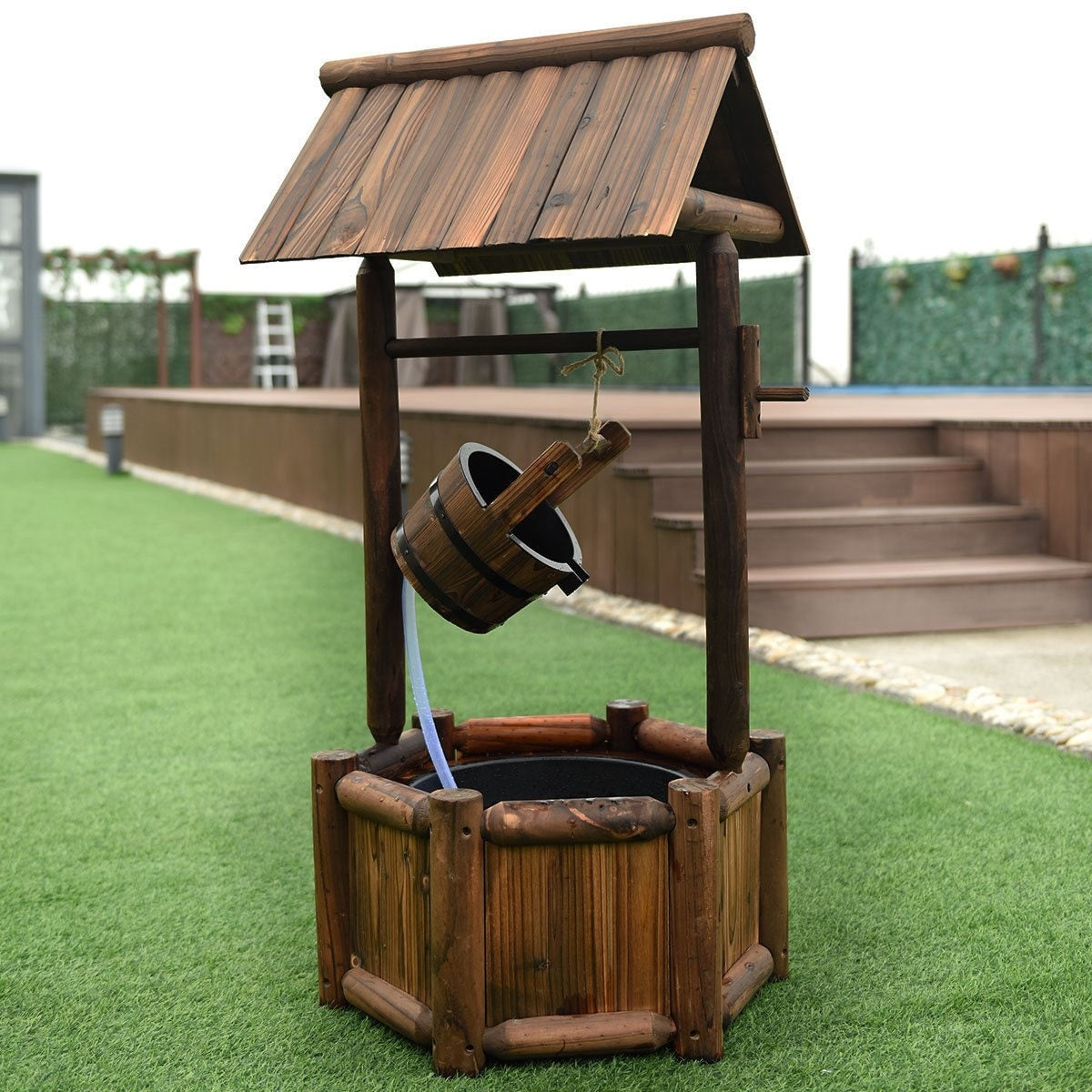 Garden Wooden Wishing Well Water Fountain with Electric Pump