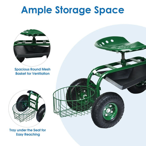 Heavy Duty Rolling Garden Cart with 360 Swivel Seat and Mesh Basket