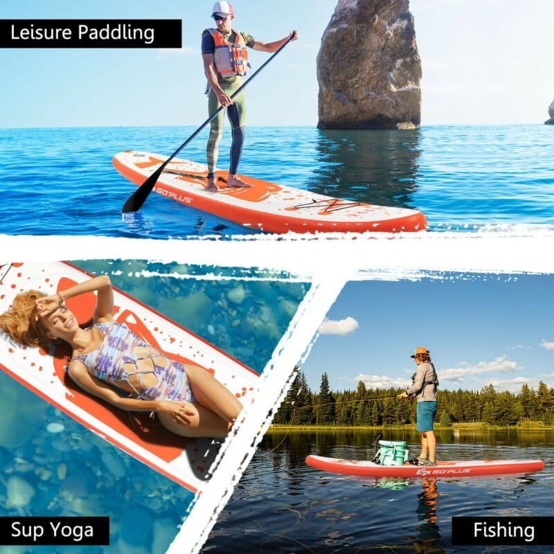 10.5 Ft Inflatable Stand up Paddle Board with Backpack Aluminum Paddle Pump