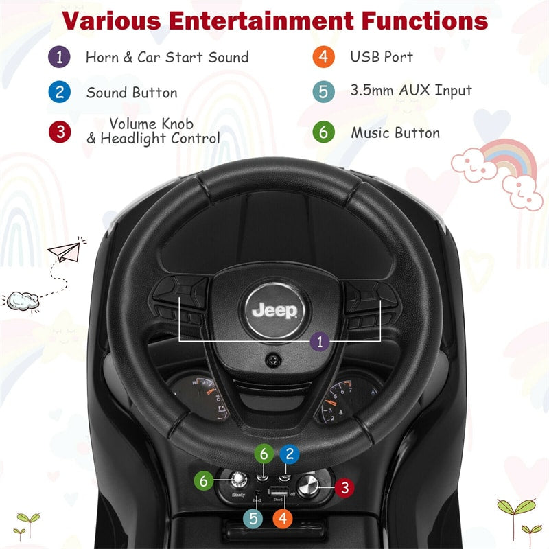 Jeep Kids Ride On Push Car with Steering Wheel Under Seat Storage