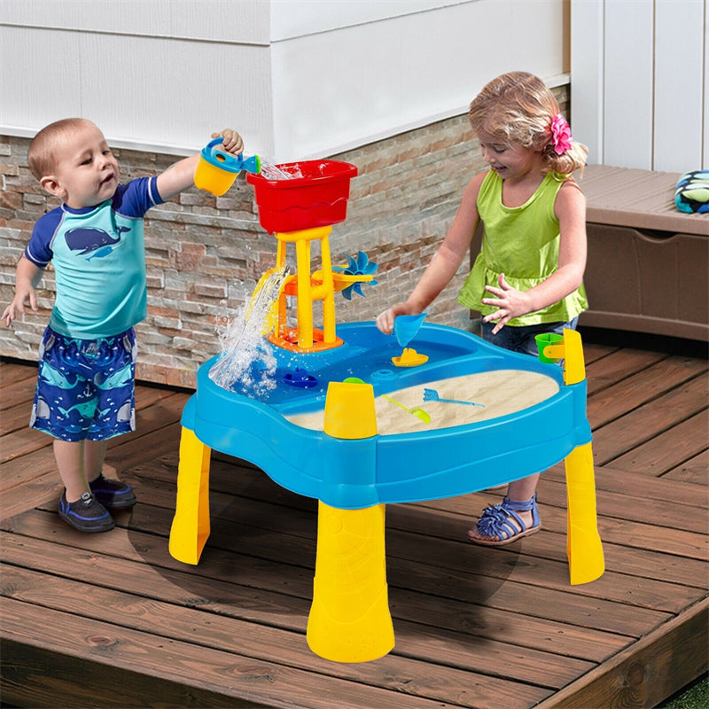 Kids Sand & Water Table Playset with Umbrella and 18 Pcs Accesories
