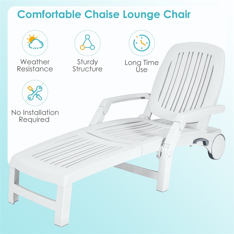 Outdoor Chaise Lounge Chair 6-Position Adjustable Patio Recliner with Wheels